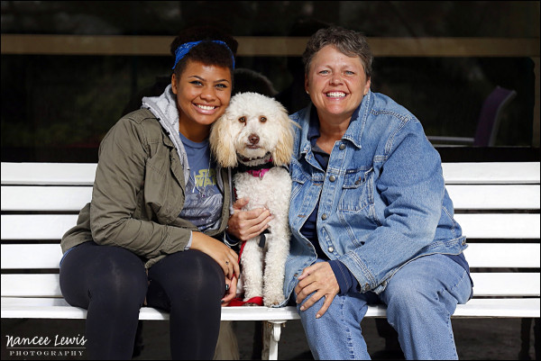 MaryAnn (right) and her service companion, Sydney, with niece, Kendall (left).