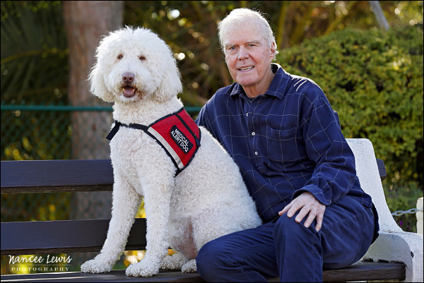 Medical service alert dog, Mikey and his companion, Bob.